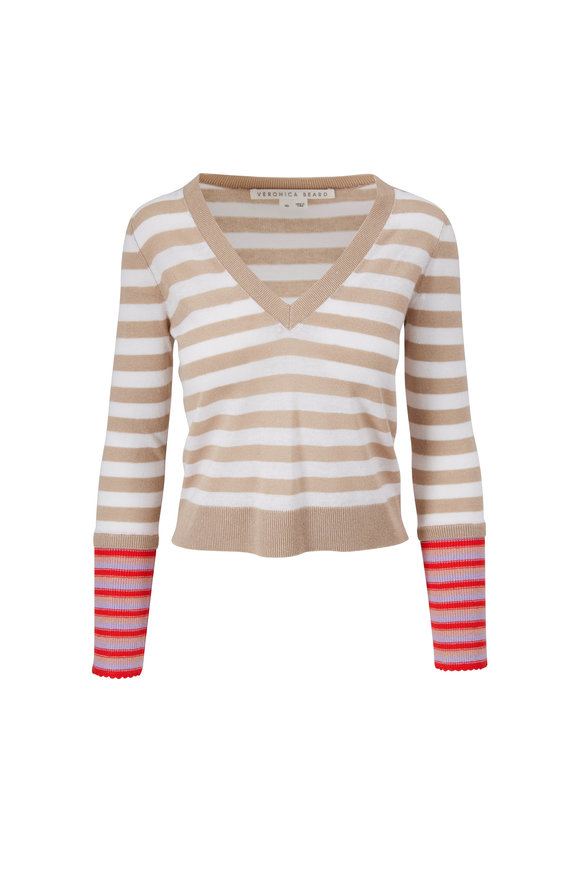 Veronica Beard Florrie Khaki Multi Stripe Pullover
