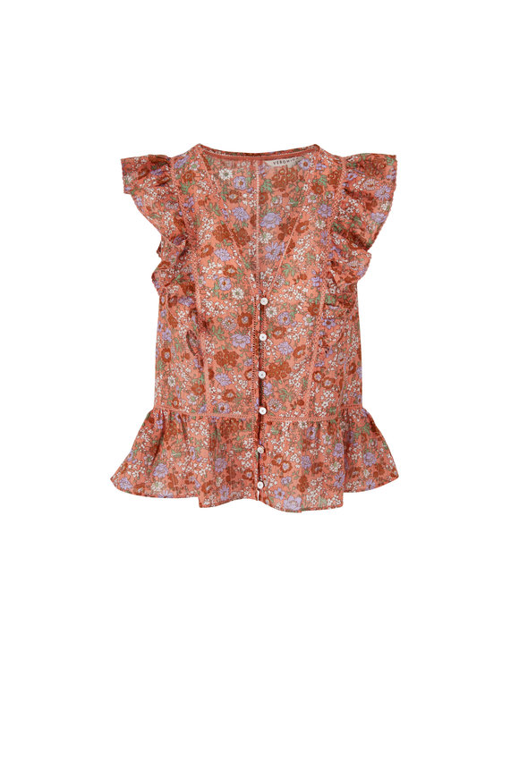 Veronica Beard Araya Coral Flutter Sleeve Top