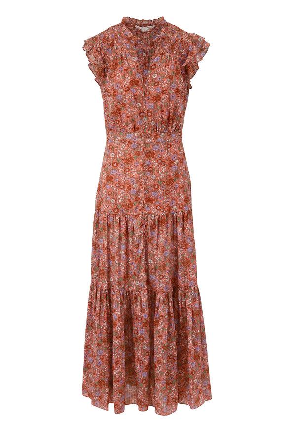 Veronica Beard Satori Coral Printed Flutter Sleeve Dress