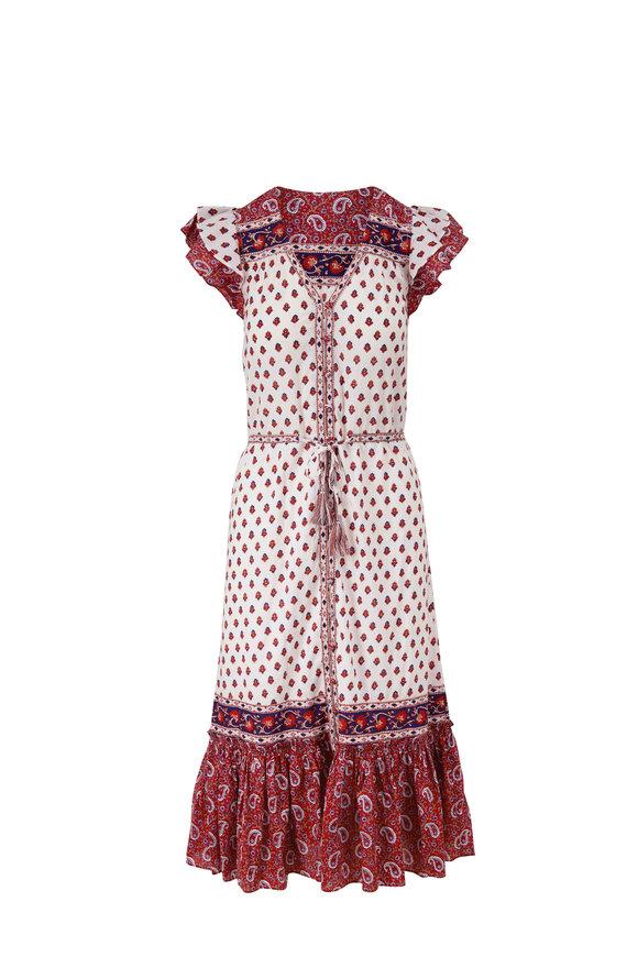 Veronica Beard Tinza Multicolor Cotton Flutter Sleeve Dress