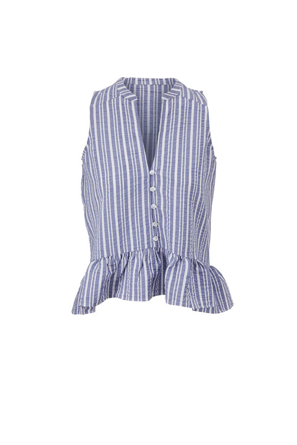Veronica Beard Antonina Blue & White Stripe Shirt