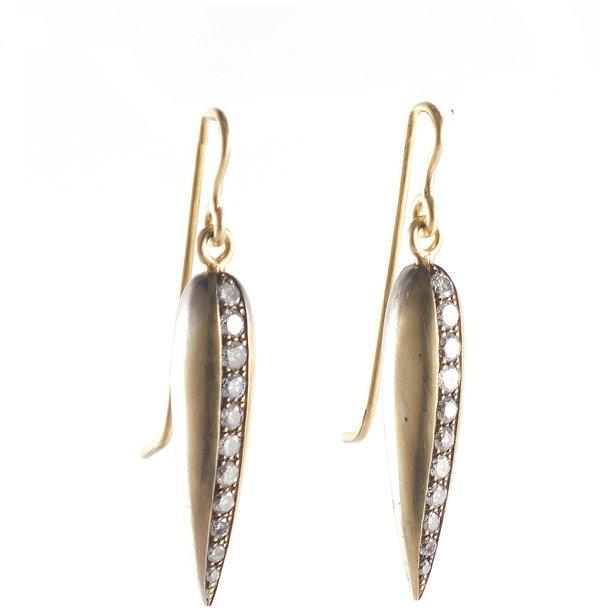 Sylva & Cie 18K Yellow Gold Gray Diamond Spear Earrings