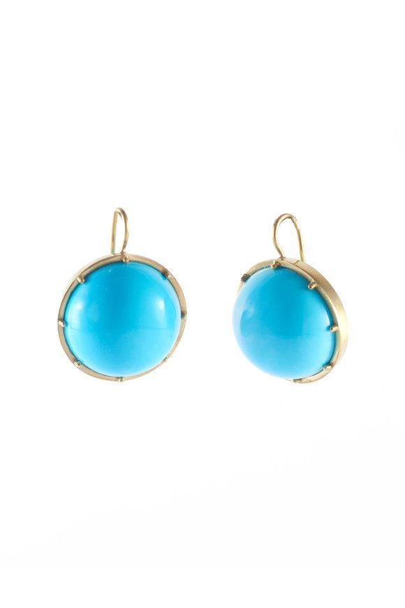 Sylva & Cie 18K Yellow Gold Sleeping Beauty Turquoise Earrings