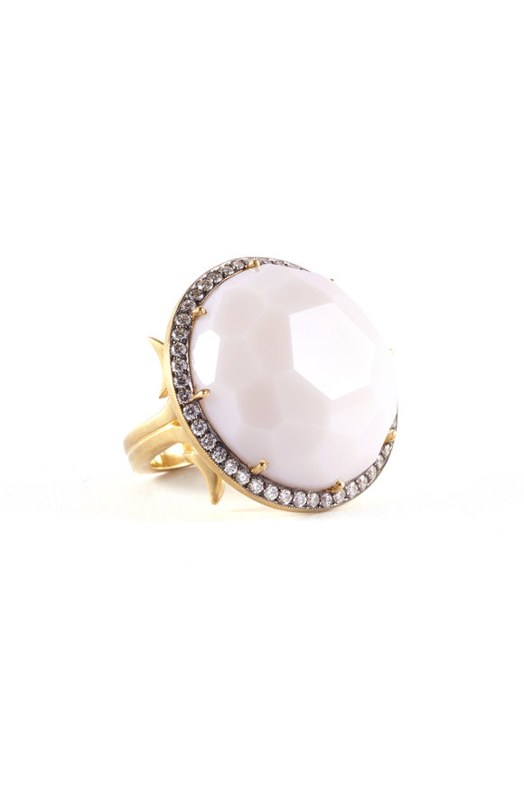Sylva & Cie Yellow Gold White Stone Cocktail Ring