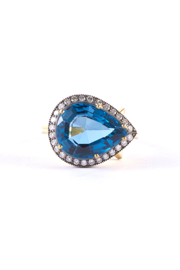 Sylva & Cie Yellow Gold Pearshape Blue Topaz Ring