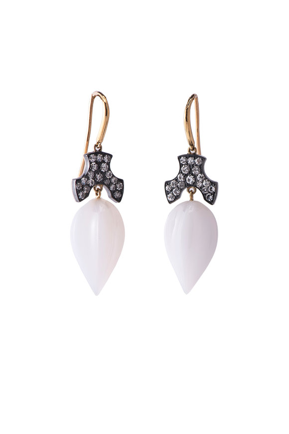 Sylva & Cie Yellow Gold White Agate & Diamond Drop Earrings