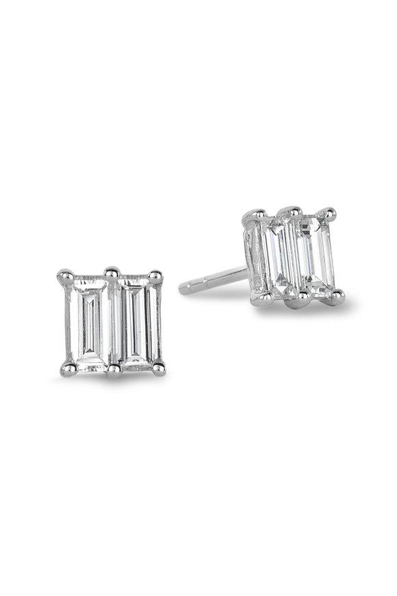 Nam Cho White Gold Small Invisible Diamond Square Studs