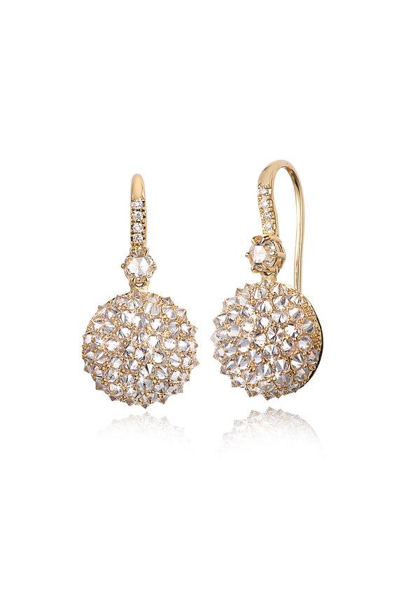 Nam Cho Yellow Gold Reverse Ball Diamond Earrings