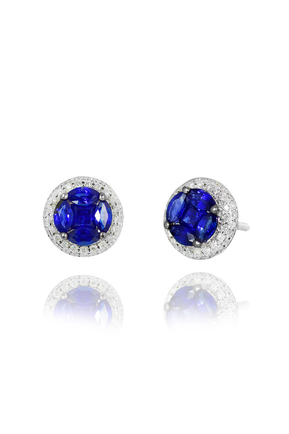 Nam Cho White Gold Invisible Sapphire & Diamond Studs