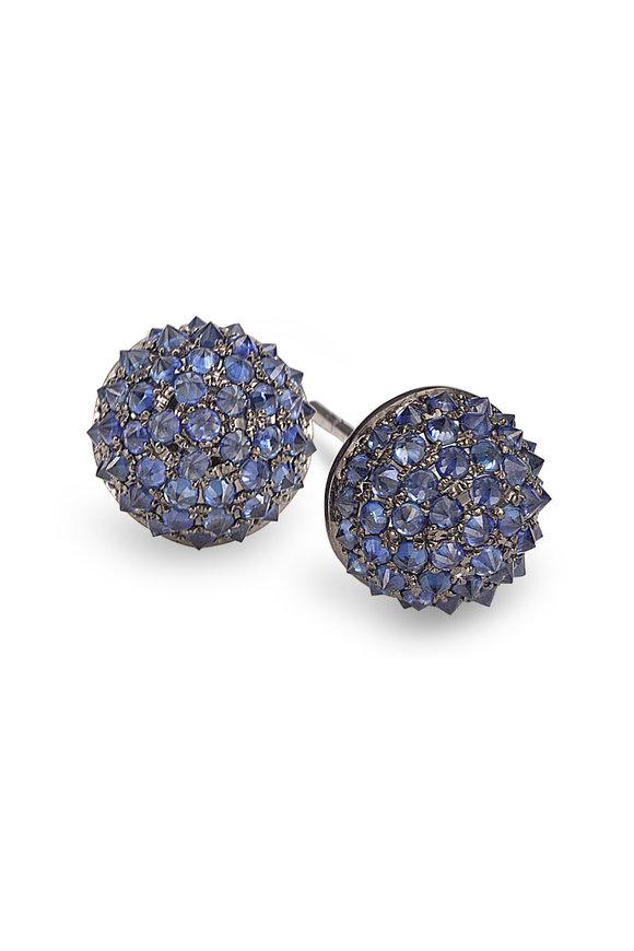 Nam Cho White  Gold Reverse Blue Sapphire Ball Studs