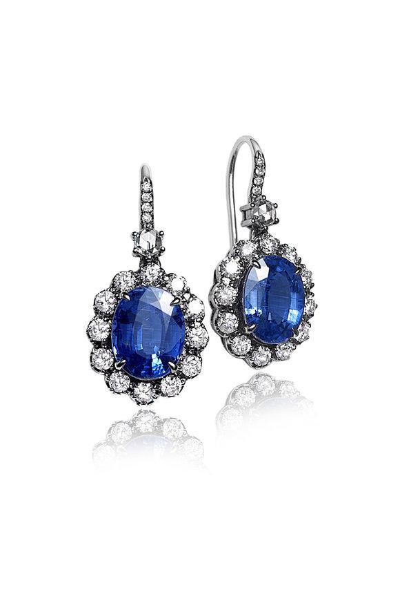 Nam Cho White Gold Kyanite & Diamond Drop Earrings