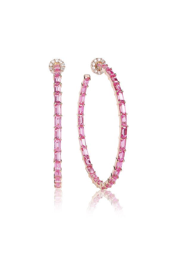Nam Cho Rose Gold Pink Sapphire & Diamond Baguette Hoops