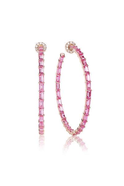 Nam Cho - Rose Gold Pink Sapphire & Diamond Baguette Hoops