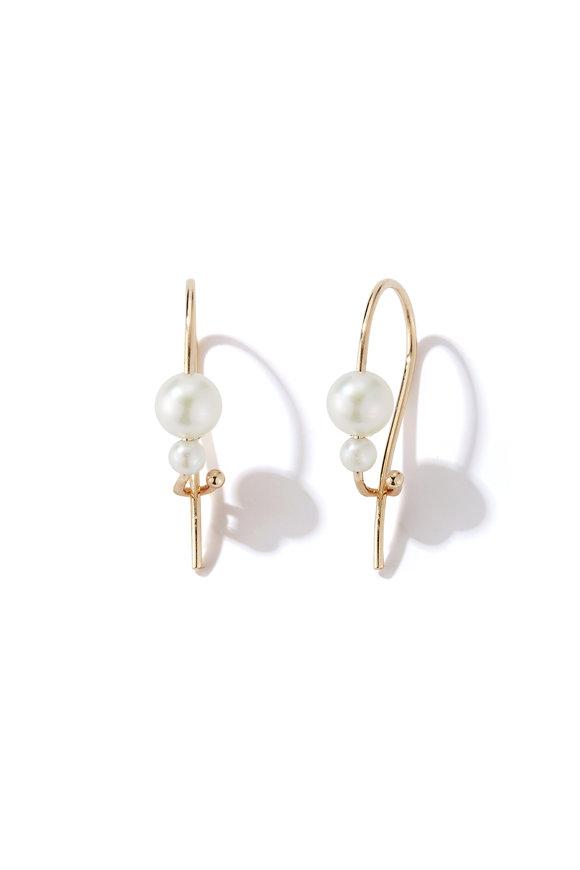 Mizuki Yellow Gold Akoya Pearl Safety Pin Earrings