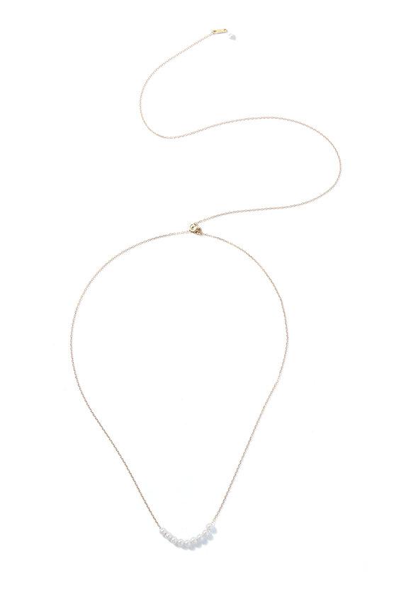 Mizuki Yellow Gold White Cultured Pearl Slider Necklace