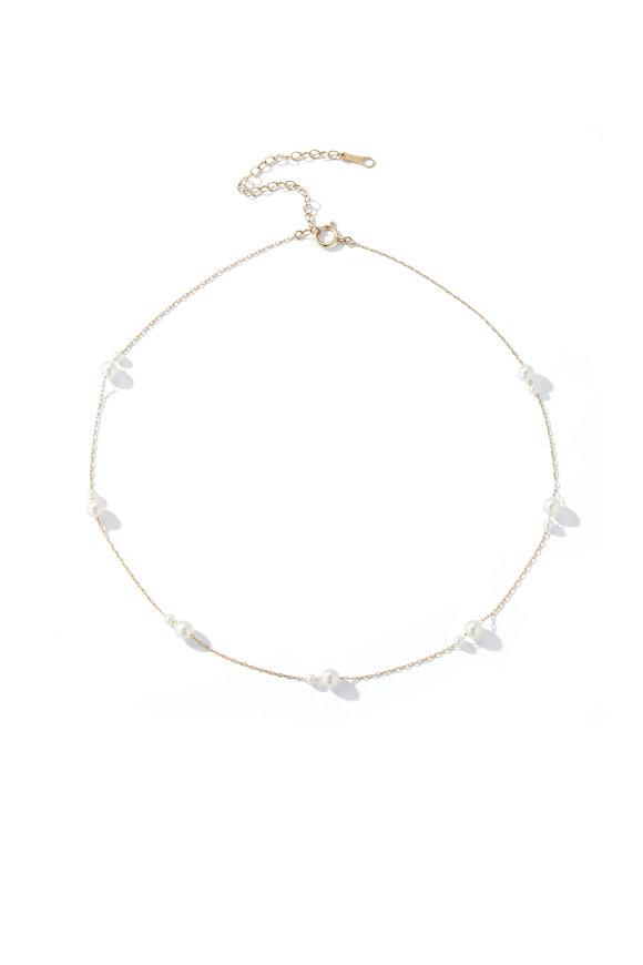 Mizuki Yellow Gold White Akoya Pearl Necklace