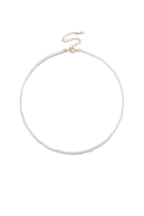 Mizuki Yellow Gold Fresh Water Pearl Necklace