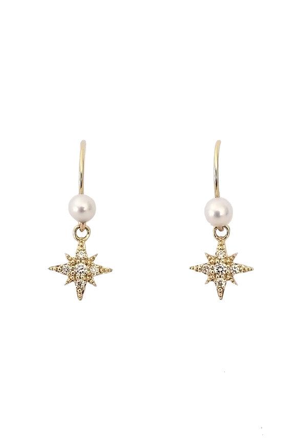 Mizuki Fresh Water Pearl & Diamond Starburst Earrings