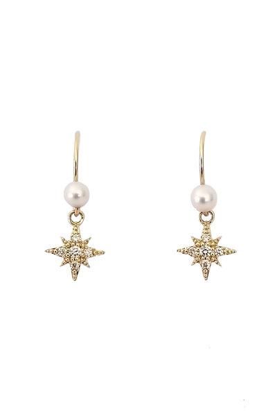 Mizuki - Fresh Water Pearl & Diamond Starburst Earrings
