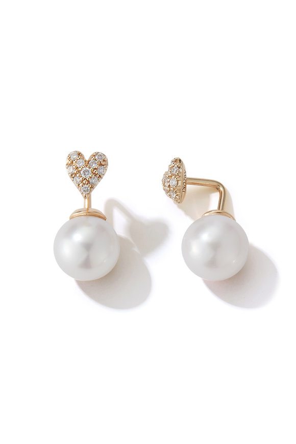 Mizuki Fresh Water Pearl & Diamond Heart Earrings