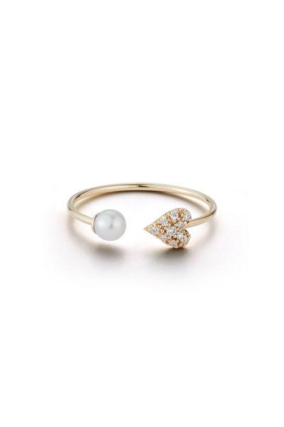 Mizuki - Yellow Gold Fresh Water Pearl & Diamond Heart Ring