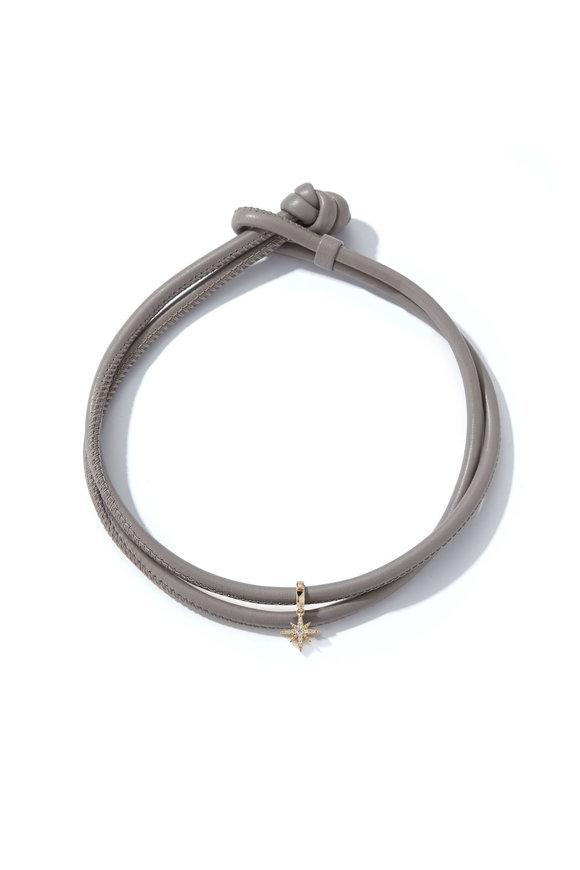 Mizuki Yellow Gold Gray Leather Cord Necklace