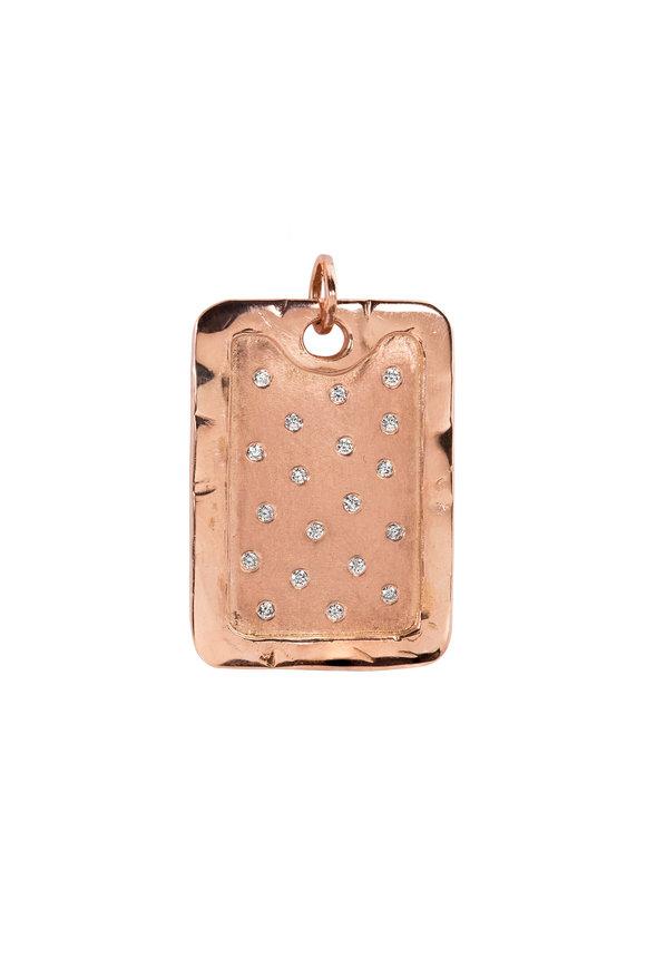 Julez Bryant Rose Gold XL Scattered Diamond Dog Tag