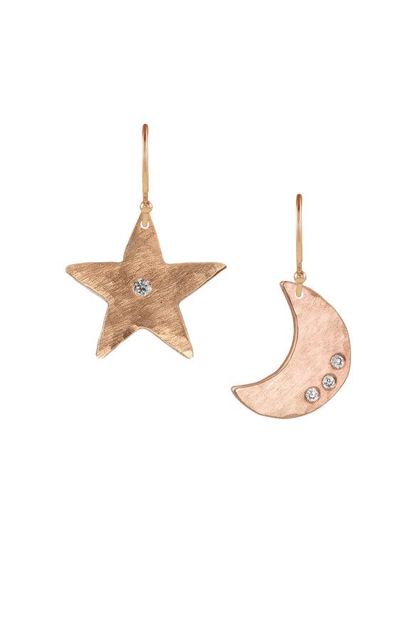 Julez Bryant Rose Gold Star & Moon White Diamond Pendant