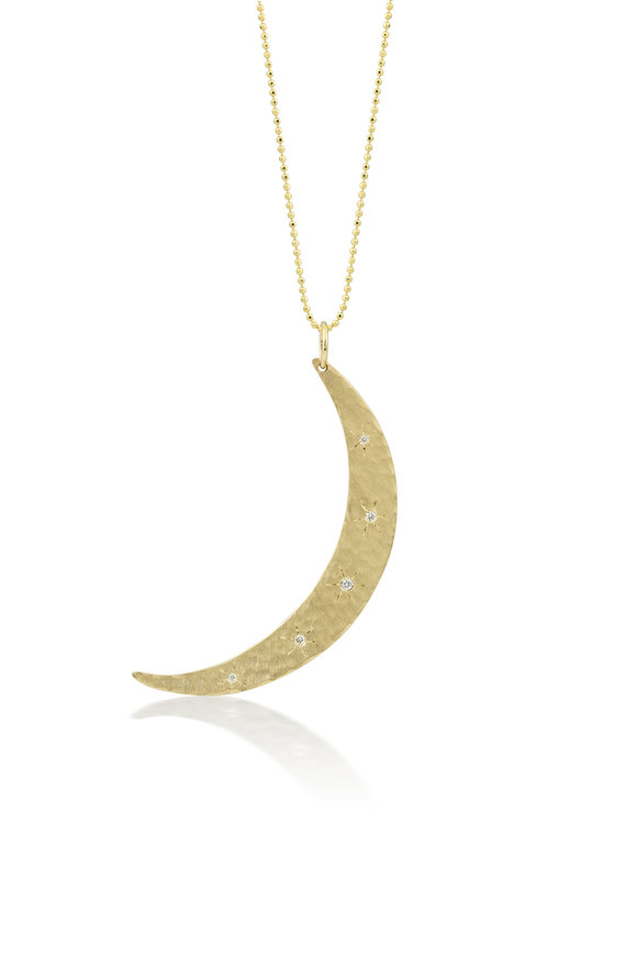 Julez Bryant Five Diamond Starburst Moon Pendant Necklace