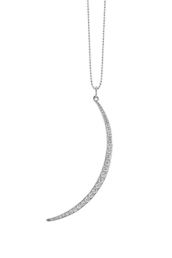 Julez Bryant White Gold Diamond Moon Necklace