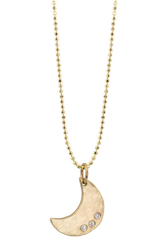Julez Bryant Yellow Gold Kite Moon 3 Diamond Pendant