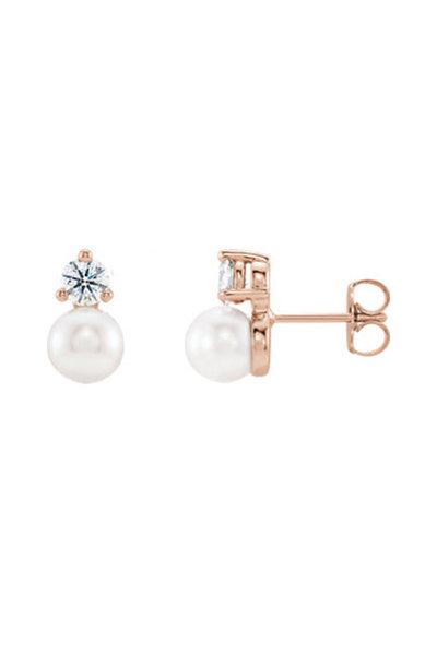Julez Bryant - Rose Gold Diamond & Pearl Single Stud Earring