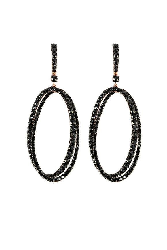 Etho Maria Rose Gold Black Diamond Drop Hoop Earrings