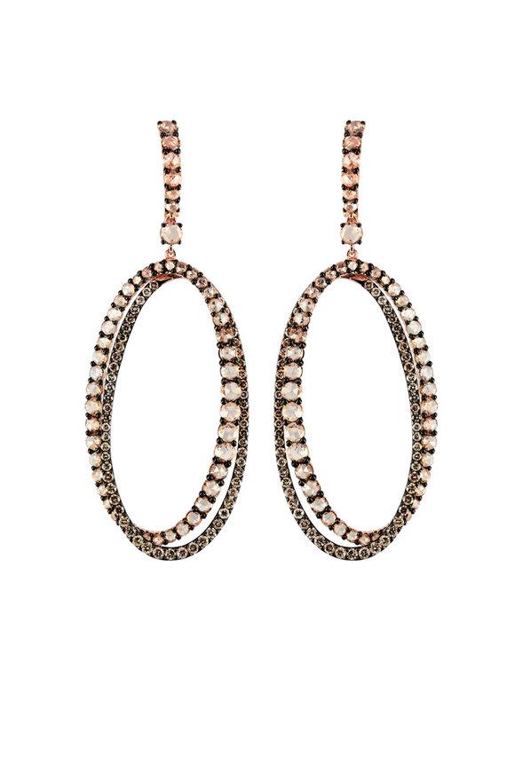 Etho Maria Yellow Gold Brown Diamond Drop Hoop Earrings