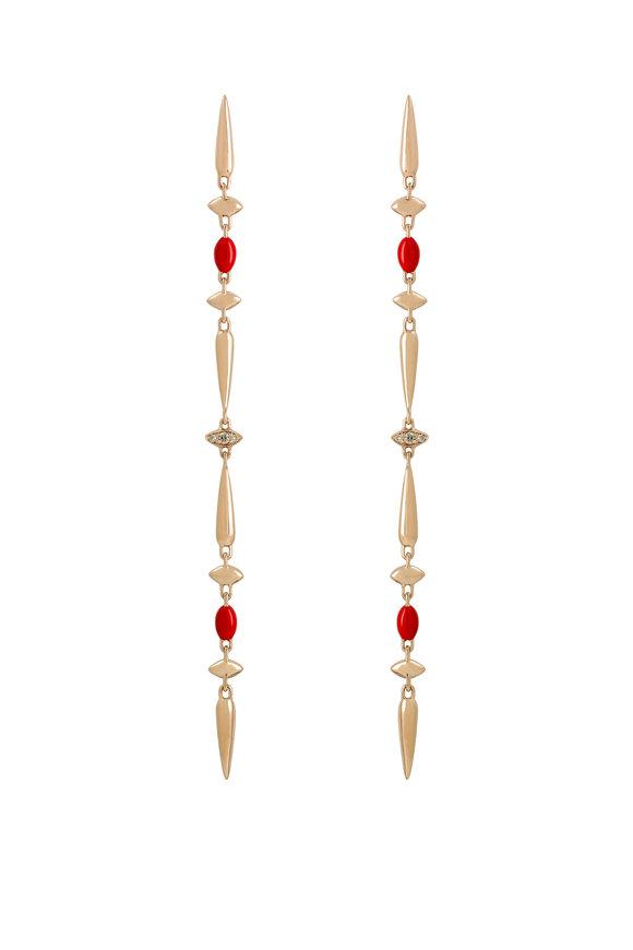 Etho Maria Rose Gold Brown Diamond Long Chain Earrings