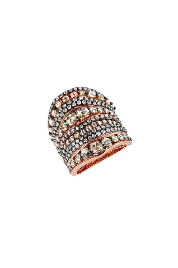 Etho Maria Rose Gold White & Brown Diamond Ring