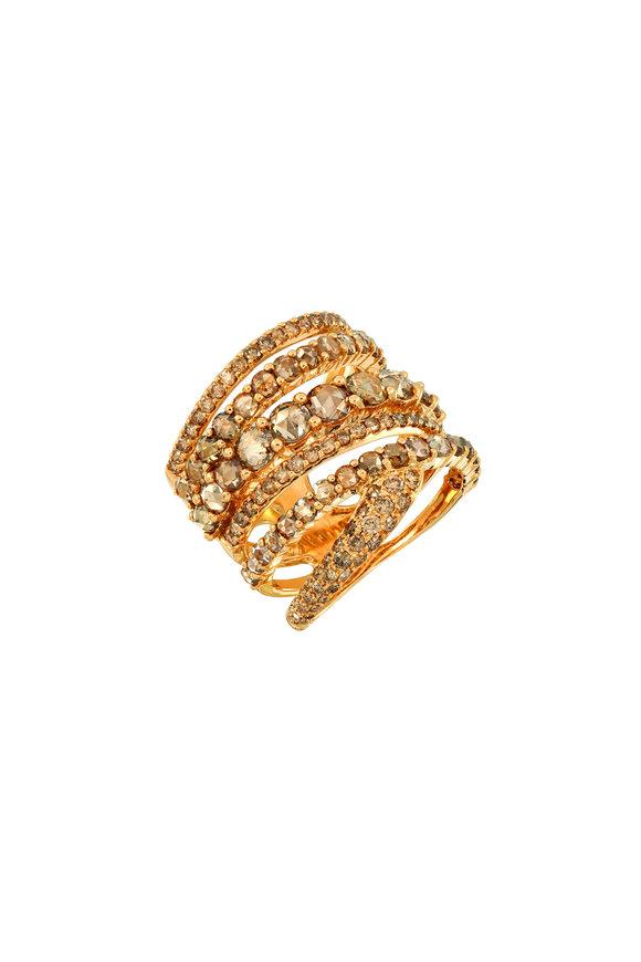 Etho Maria Yellow Gold Brown Diamond Twist Ring