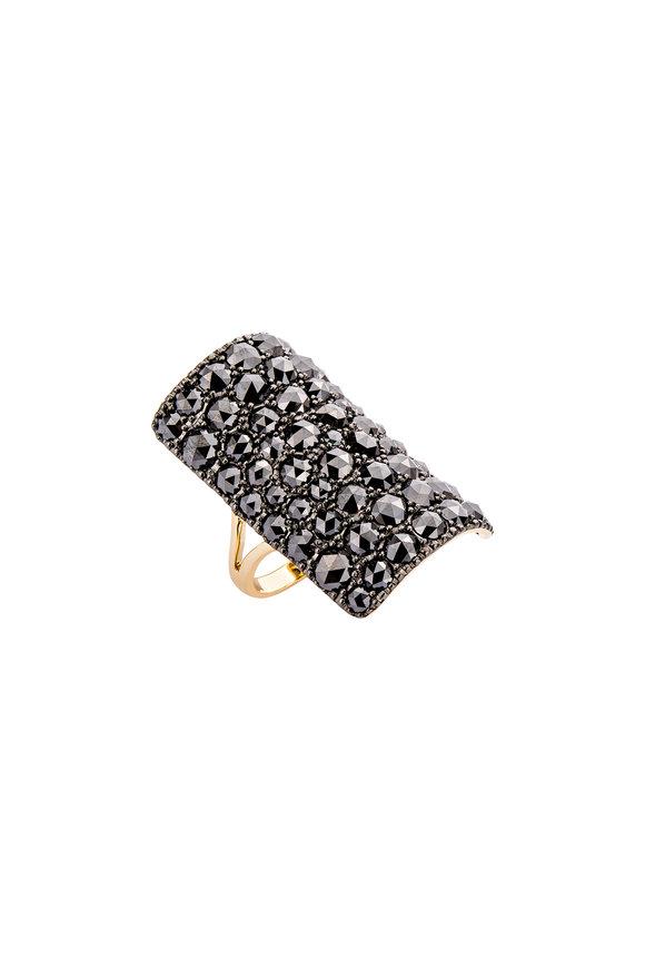 Etho Maria Yellow Gold Black Diamond Table Ring