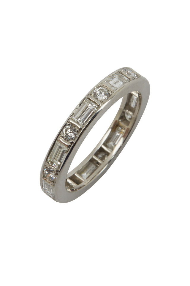 Platinum Baguette & Round Diamond Band