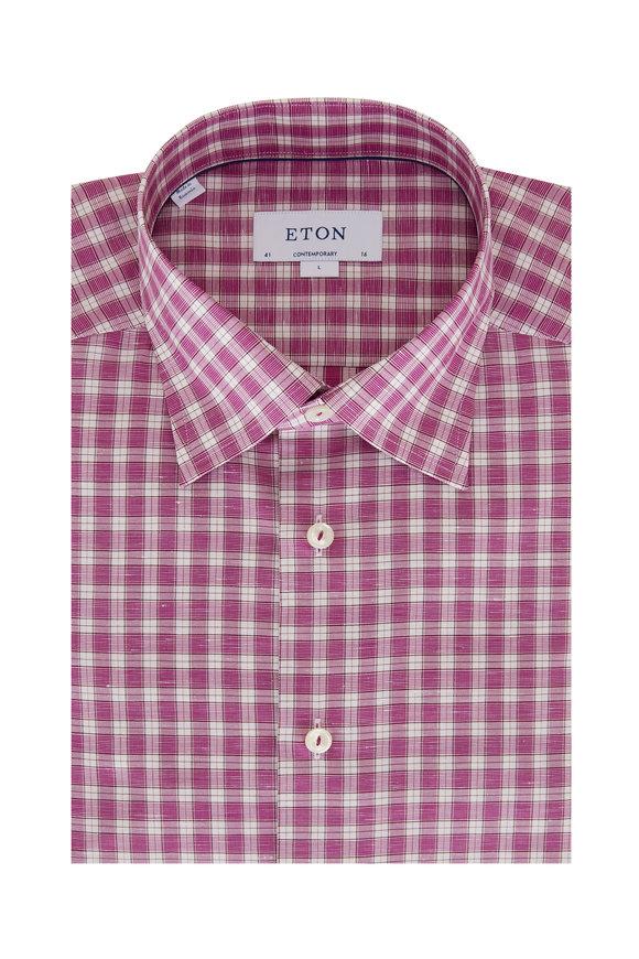 Eton Fuchsia Check Contemporary Fit Sport Shirt