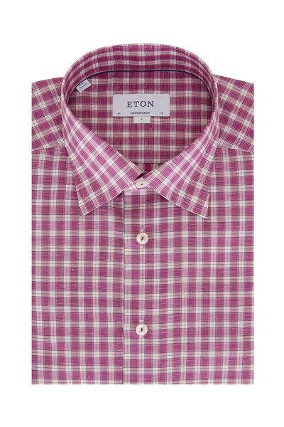 Eton - Fuchsia Check Contemporary Fit Sport Shirt