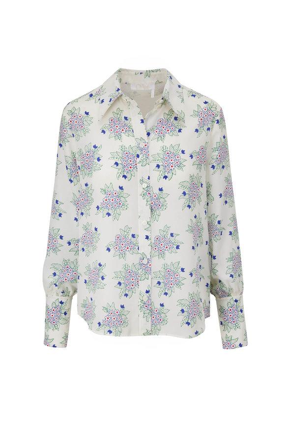 Chloé White Bouquet Print Silk Blouse