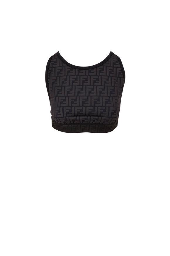 Fendi Black Embossed FF Crop Top