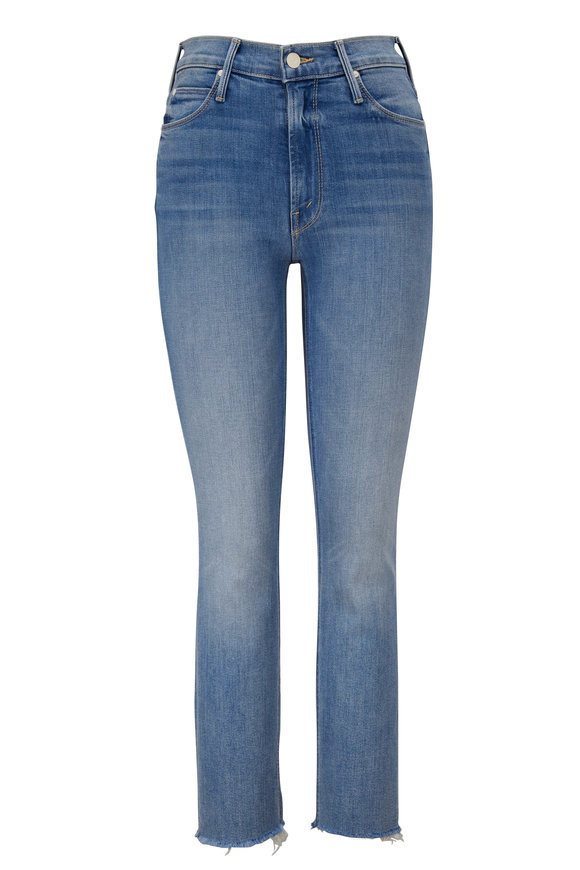 Mother Denim The Dazzler Blowing Kisses Mid Rise Crop Fray Jean