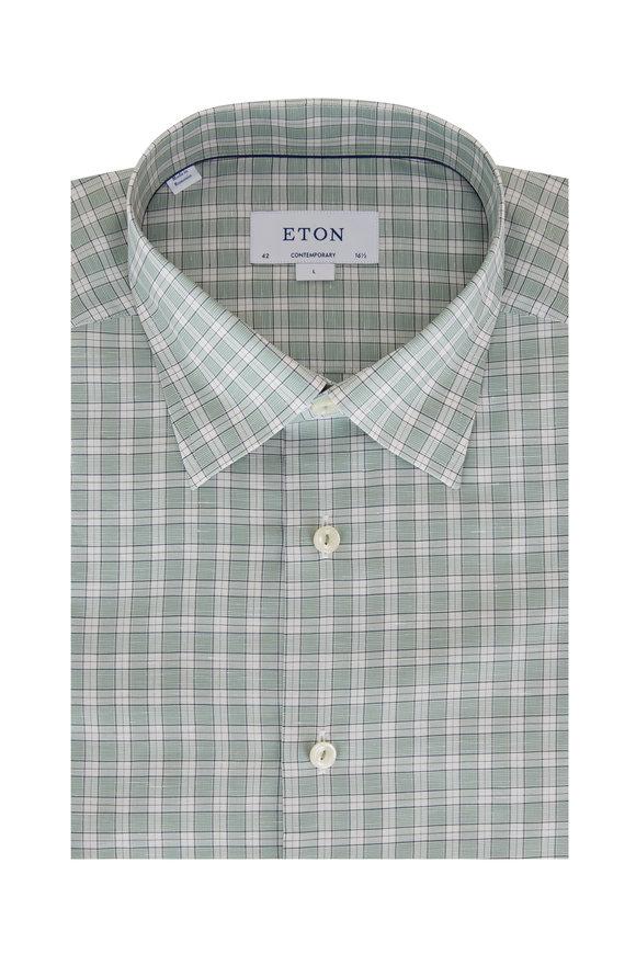 Eton Green & White Check Contemporary Fit Sport Shirt