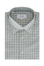 Eton - Green & White Check Contemporary Fit Sport Shirt