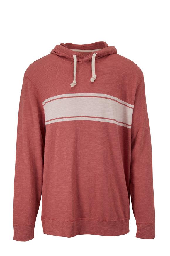 Faherty Brand Surf Stripe Summer Red Slub Hoodie