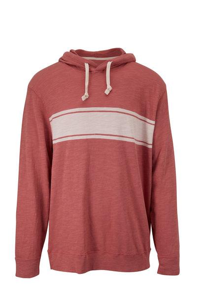 Faherty Brand - Surf Stripe Summer Red Slub Hoodie