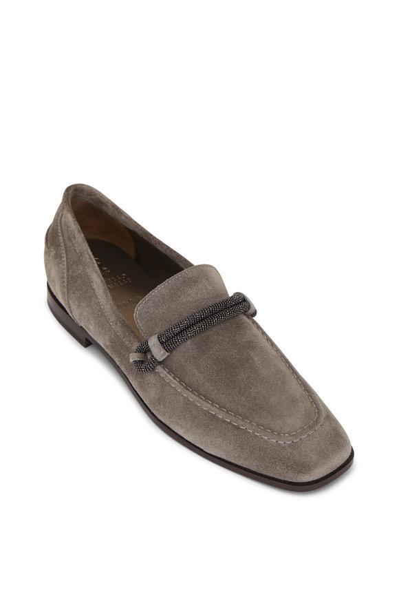 Brunello Cucinelli Dark Gray Suede Monili Tube Loafer