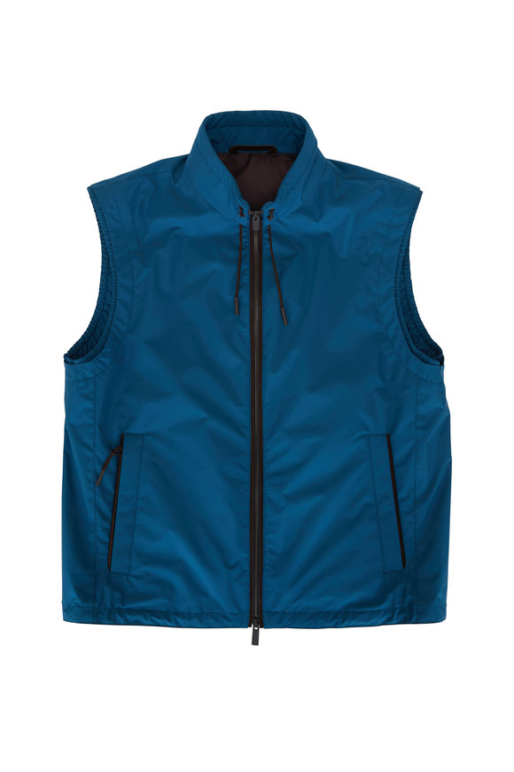 Ermenegildo Zegna Stratos Teal Front Zip Vest